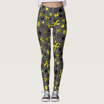 Yellow Ribbon Multi Print...Endometriosis Leggings