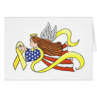 Yellow Ribbon Parriotic Angel Cards