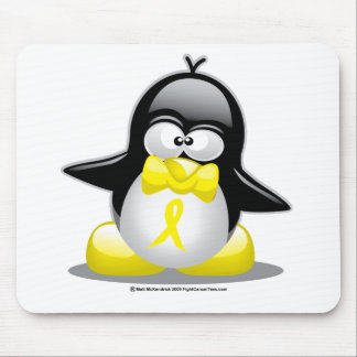 Yellow Ribbon Penguin Mouse Pad