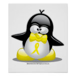 Yellow Ribbon Penguin Print