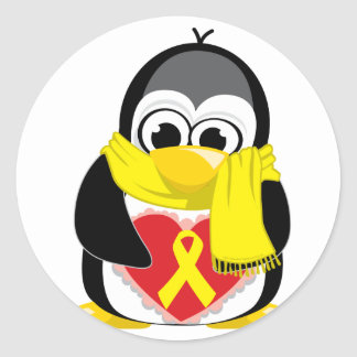Yellow Ribbon Penguin Scarf Classic Round Sticker