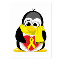 Yellow Ribbon Penguin Scarf Postcard