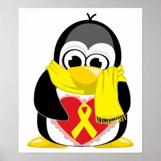Yellow Ribbon Penguin Scarf Poster