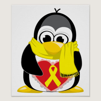 Yellow Ribbon Penguin Scarf Poster