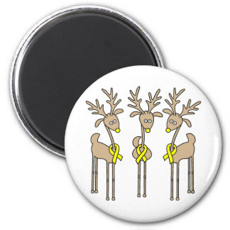 Yellow Ribbon Reindeer 2 Inch Round Magnet
