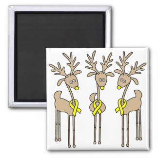 Yellow Ribbon Reindeer 2 Inch Square Magnet