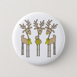 Yellow Ribbon Reindeer Button