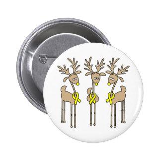 Yellow Ribbon Reindeer Button