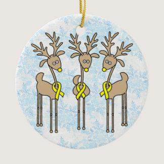 Yellow Ribbon Reindeer Ceramic Ornament