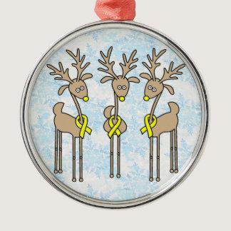 Yellow Ribbon Reindeer Metal Ornament