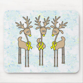Yellow Ribbon Reindeer Mouse Pad