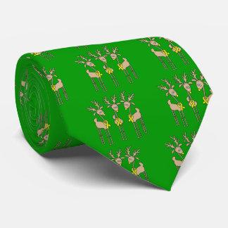 Yellow Ribbon Reindeer Neck Tie