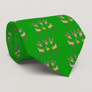 Yellow Ribbon Reindeer Neck Tie