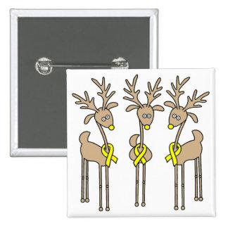 Yellow Ribbon Reindeer Pinback Button