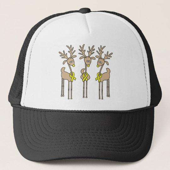 Yellow Ribbon Reindeer Trucker Hat