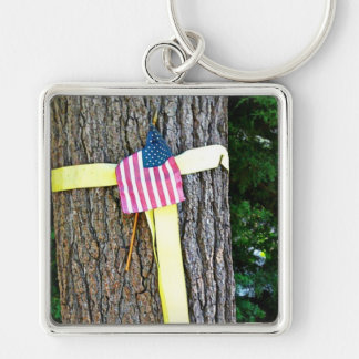 Yellow Ribbon Round Tree & U.S. Flag Keychain