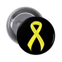Yellow Ribbon Support Awareness Pinback Button