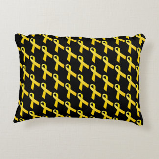 Yellow Ribbon Tiled Awareness Pattern Accent Pillow