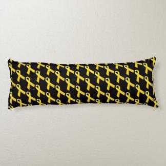 Yellow Ribbon Tiled Awareness Pattern Body Pillow