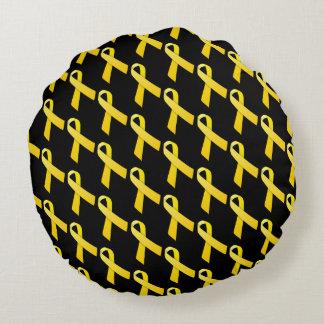 Yellow Ribbon Tiled Awareness Pattern Round Pillow