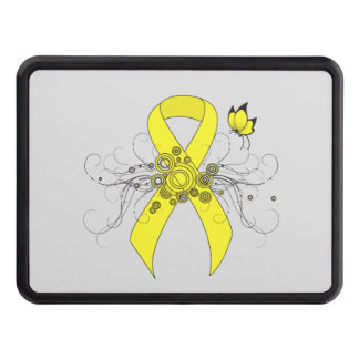 Yellow Ribbon with Butterfly Trailer Hitch Cover