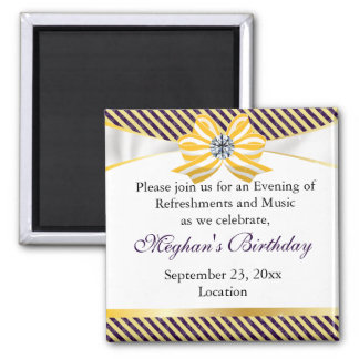 Yellow Ribbon with Damask Pattern Variation 2 Inch Square Magnet