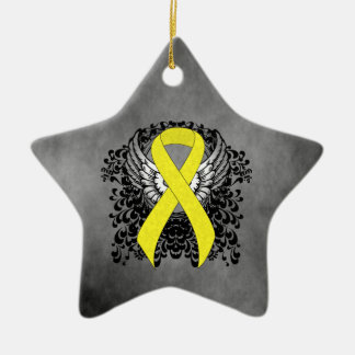 Yellow Ribbon with Wings Ceramic Ornament