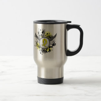 Yellow Ribbon With Wings Endometriosis 15 Oz Stainless Steel Travel Mug