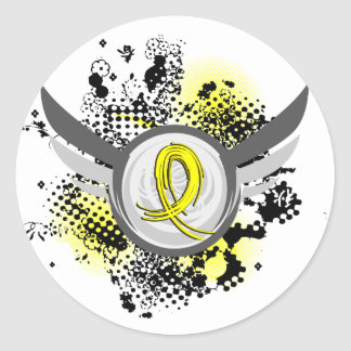 Yellow Ribbon With Wings Endometriosis Round Sticker