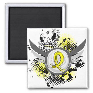 Yellow Ribbon With Wings Hydrocephalus 2 Inch Square Magnet