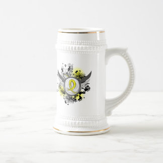 Yellow Ribbon With Wings Hydrocephalus 18 Oz Beer Stein