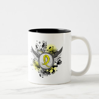 Yellow Ribbon With Wings Hydrocephalus Two-Tone Coffee Mug