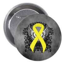 Yellow Ribbon with Wings Pinback Button