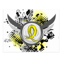 Yellow Ribbon With Wings Sarcoma Postcard