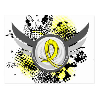 Yellow Ribbon With Wings Testicular Cancer Postcard