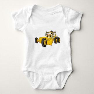 Yellow Road Grader Cartoon Baby Bodysuit