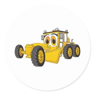 Yellow Road Grader Cartoon Classic Round Sticker