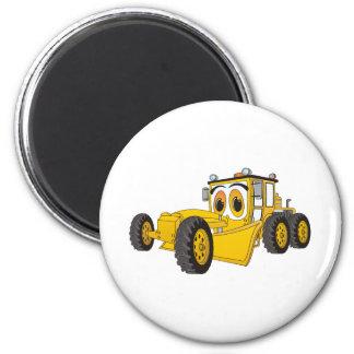 Yellow Road Grader Cartoon Magnet