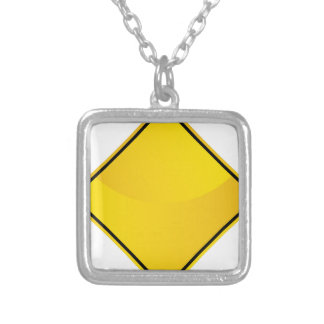Yellow Road Sign Icon Square Pendant Necklace