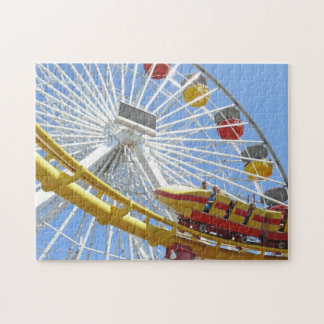 Yellow Roller Coaster Going Past Ferris Wheel Puzzle