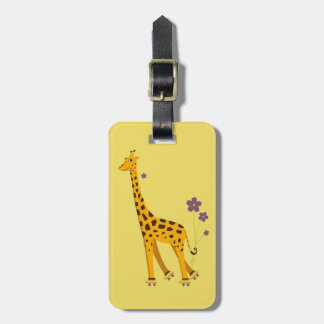 Yellow Roller Skating Cartoon Giraffe Personalized Luggage Tag