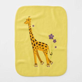 Yellow Roller Skating Funny Cartoon Giraffe Burp Cloth
