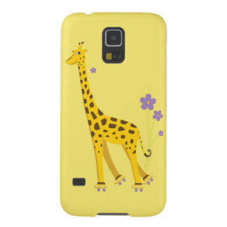 Yellow Roller Skating Funny Cartoon Giraffe Galaxy S5 Cover