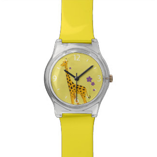 Yellow Roller Skating Funny Giraffe Watch