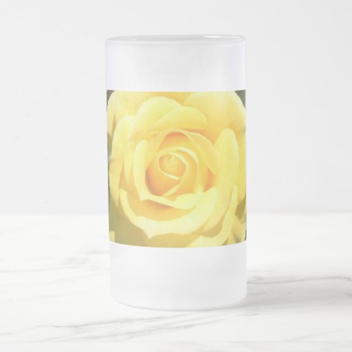 Yellow Rose 16 Oz Frosted Glass Beer Mug