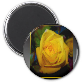 Yellow Rose 2 Inch Round Magnet