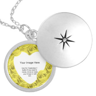 Yellow Rose Abstract Pattern - Photo Template Silver Plated Necklace