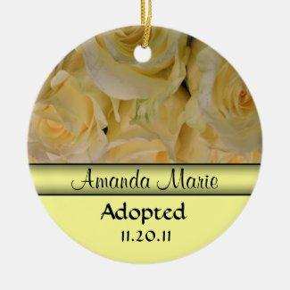 Yellow Rose Adoption Announcement Ornament