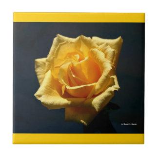 Yellow Rose against dark background design Ceramic Tile
