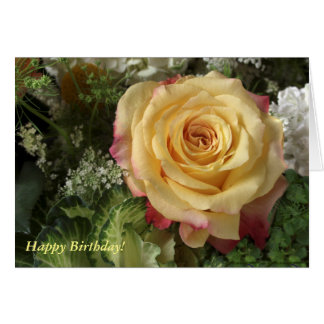 Yellow Rose Among Greens Birthday Card